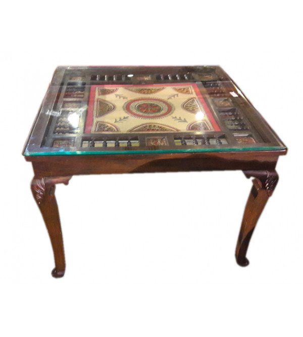 Dining Table With Dokra  Warli Work Teak Wood .