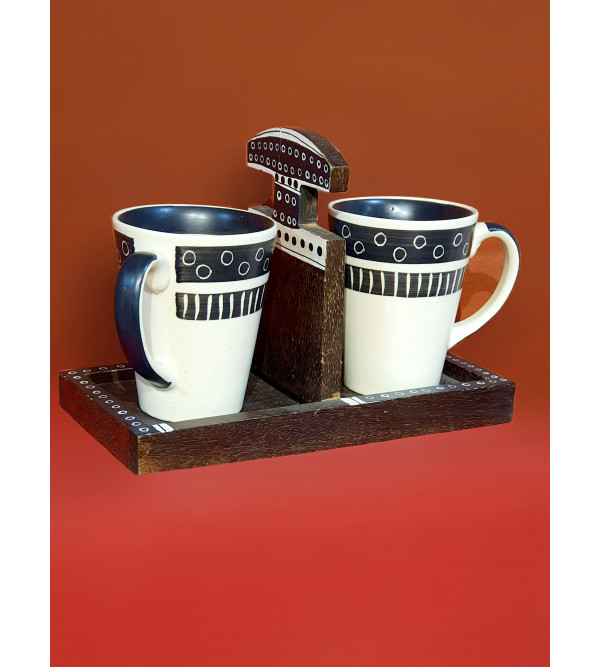 Wooden Tray with 2 Cups
