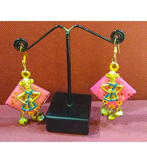 DHOKRA BRASS ROUND FACE WITH COCONUT EARRINGS