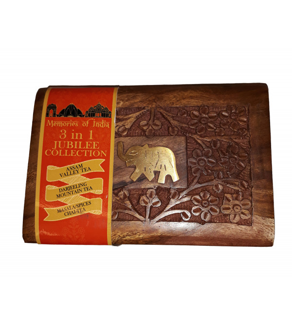 MEMORIES OF INDIA 3 IN 1  BAGS 75 GMS WITH WOODEN BOX