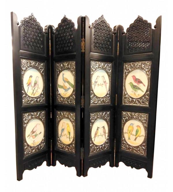 Four Panel Wooden Mesh Screen