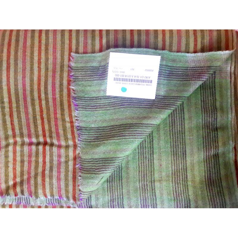 Pashmina Shawl Stripe Handwoven in Kashmir Size,40X80 Inch