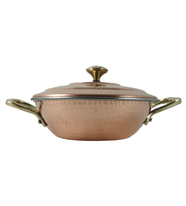 HANDICRAFT COPPER STEEL KADAI WITH LID 7 INCH