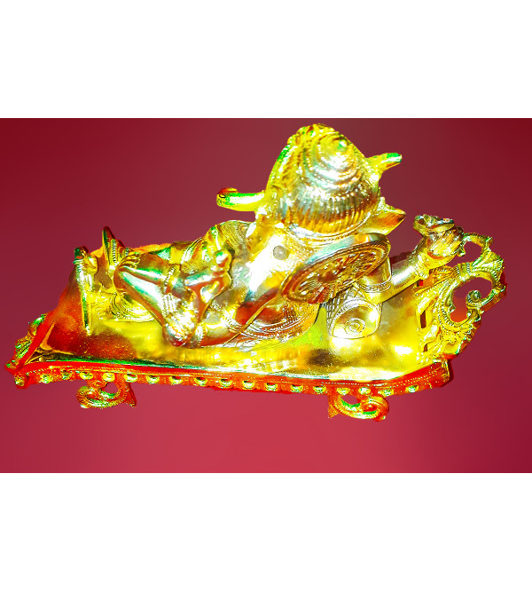Handcrafted Brass Gold Plated Lord Ganesha 10.5 x 8 Inch