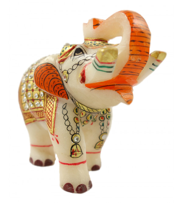 MARBLE 4 INCH  ELEPHANT WITH GOLD WORK W BOX