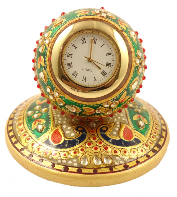 MARBLE 4 INCH TABLE CLOCK WITH GOLD WORK W BOX