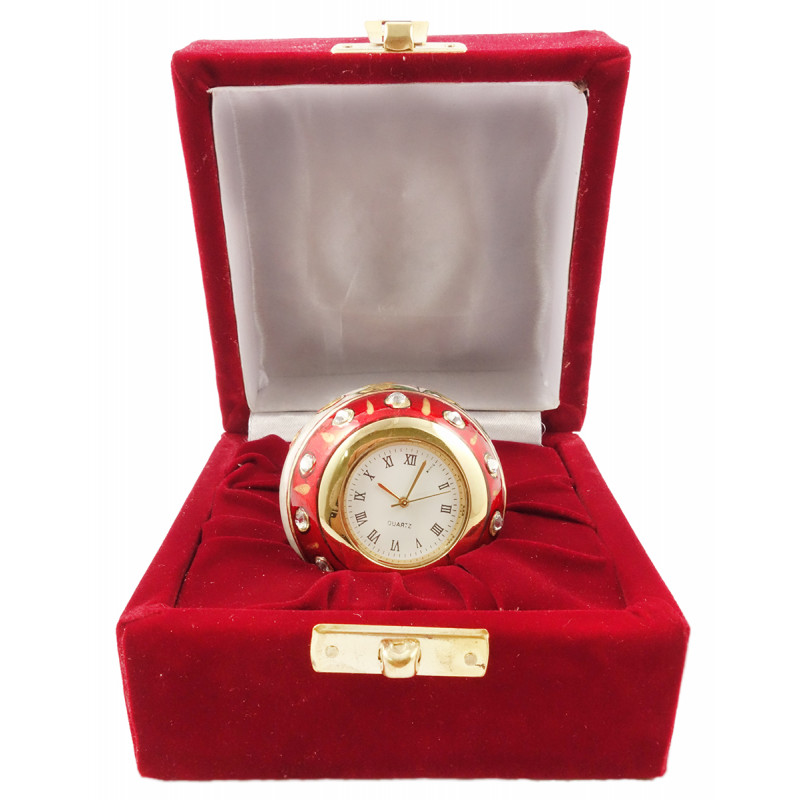 2 INCH PAPER WEIGHT CUM CLOCK IN MARBLE WITH GOLD WORK