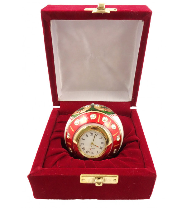 3 INCH PAPER WEIGHT CUM CLOCK IN MARBLE WITH GOLD WORK