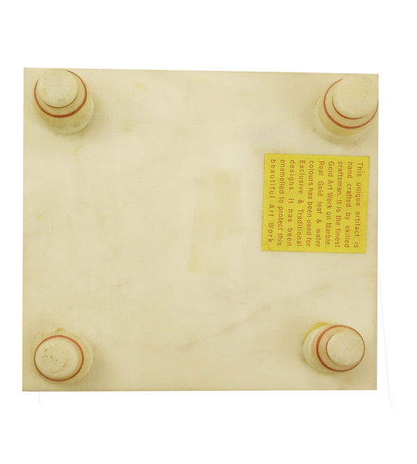 MARBLE 6 INCH CHOWKI IN GOLD WORK W BOX