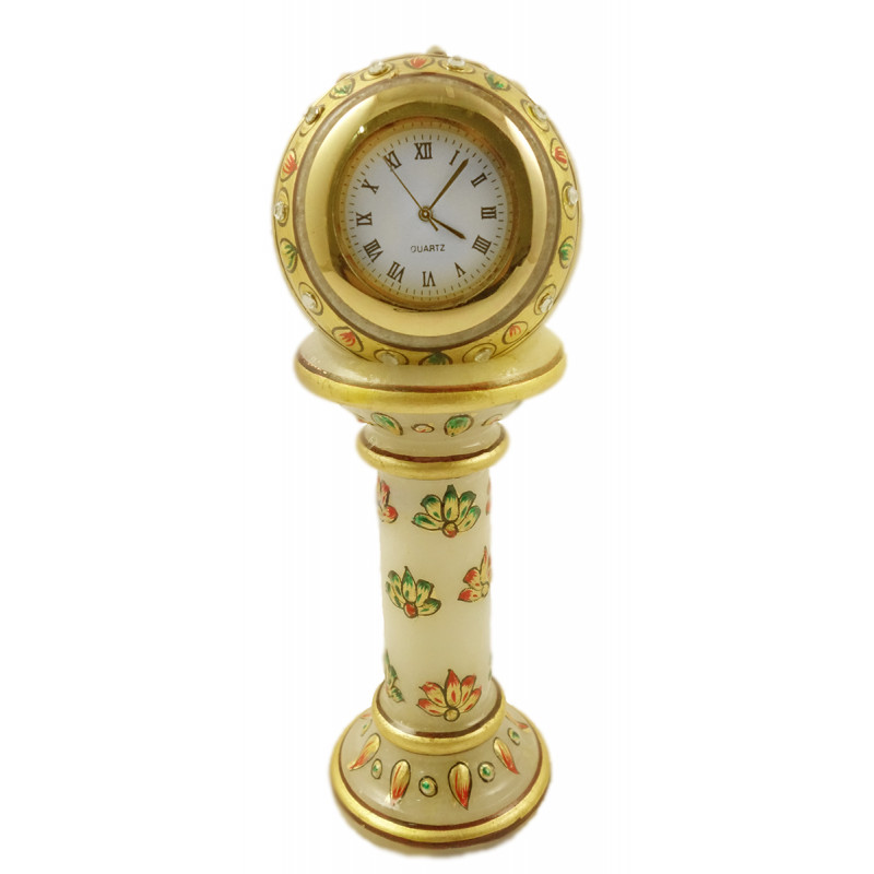 MARBLE 6 INCH STAND CLOCK IN GOLD WORK