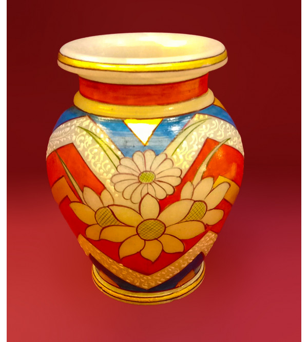 Marble Handpainted Flower Vase Size 3X5 Inches