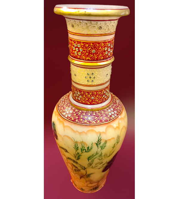 Flower Vase Handcrafted With Pure Gold Leaf Work Size 14X6 Inches