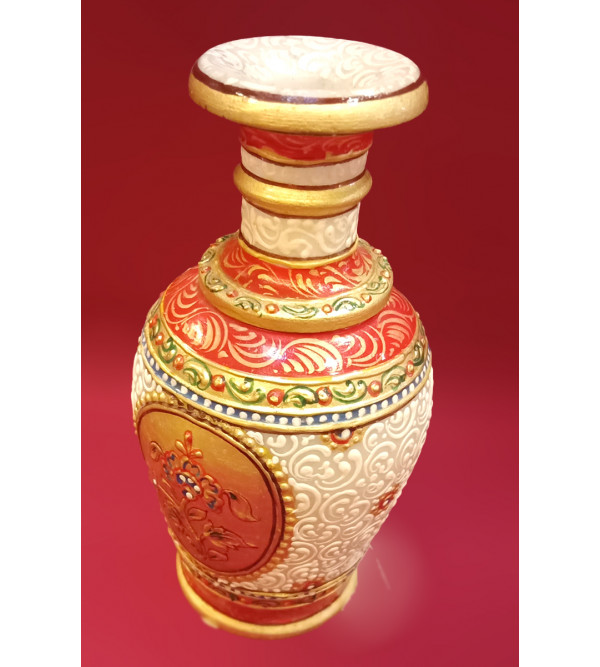 Marble Vase Handcrafted With Pure Gold Leaf Work Size 6 Inches