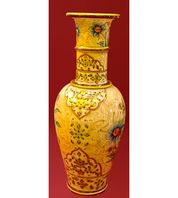 Marble Vase Handcrafted With Pure Gold Leaf Work Size 15 Inches