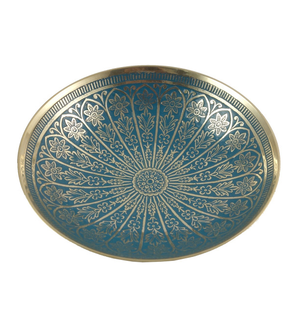 HANDICRAFT BRASS 6 INCH FRUIT BOWL ENAMELED