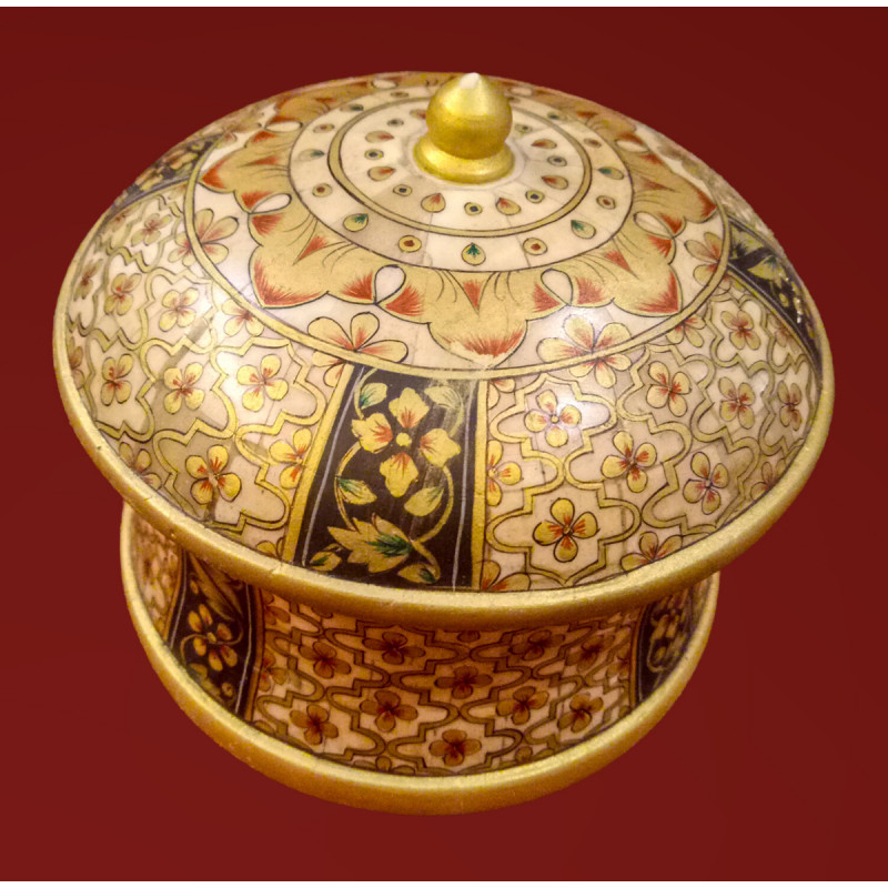 Camel Bone Handcrafted Box with Miniature Painting
