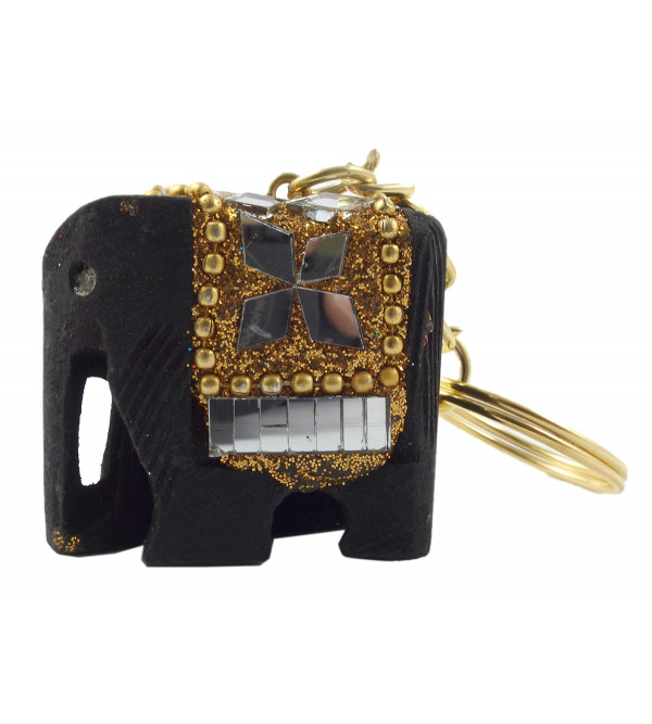 HANDICRAFT ASSORTED COLOR LACQ. WORK ELEPHANT KEY CHAIN LARGE 1.2x1.4 INCH