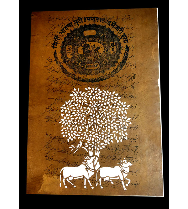 Old Stamp Paper Handmade Painting