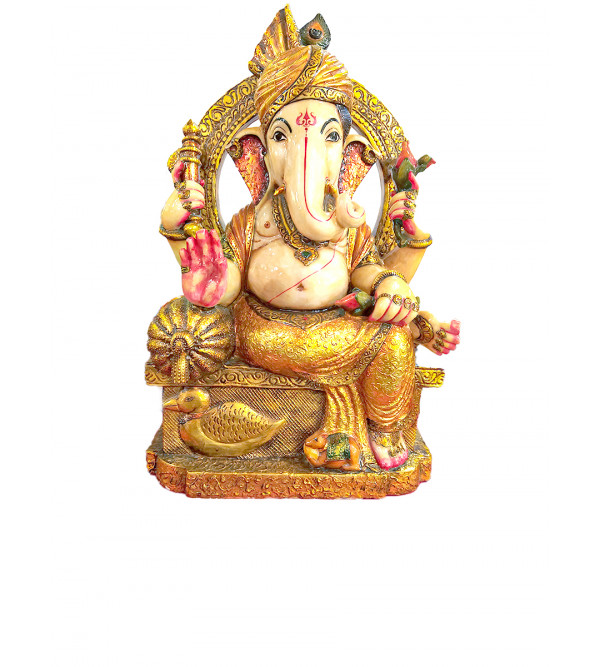 Marble Carved With Gold Leaf Ganesha Statue Size 30 Inch