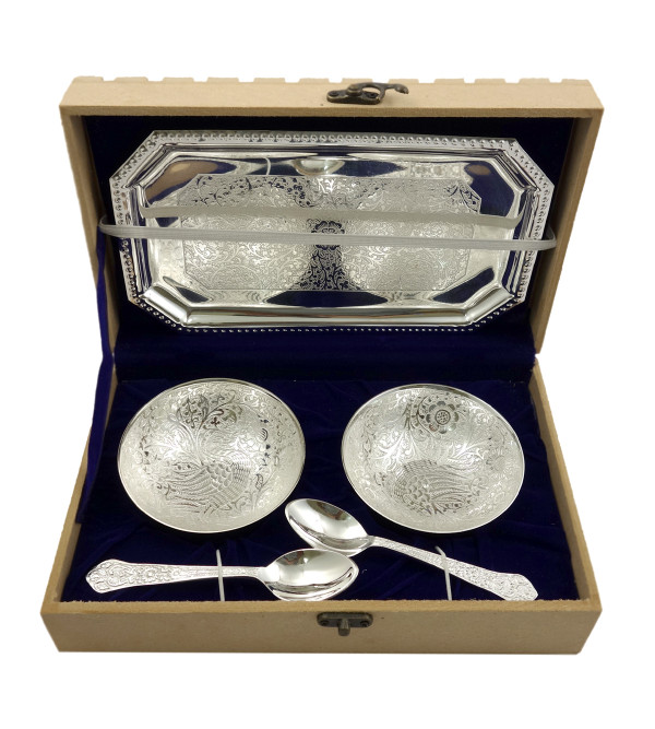 Handicraft Brass Silver Plated Katori 5 PCS SET 4 INCH