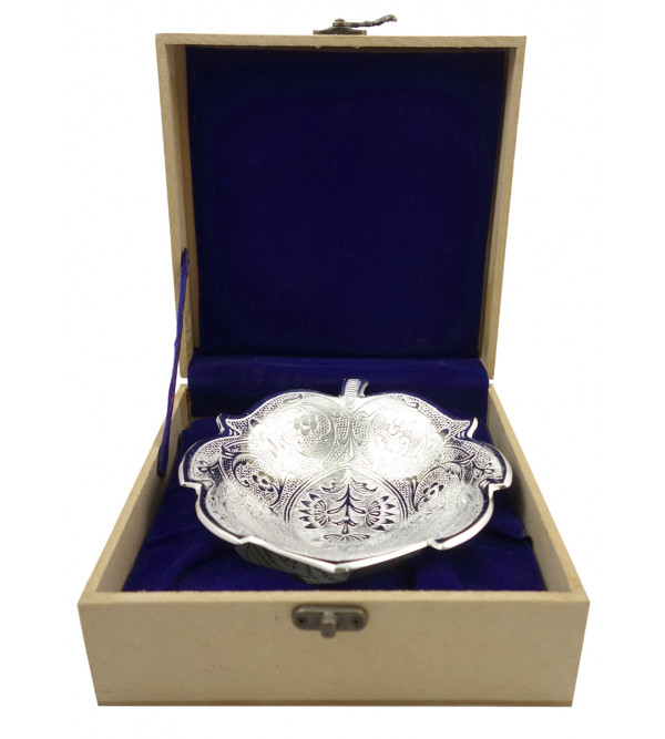 Handicraft Brass Silver Plated Bowl Kamal  7 INCH