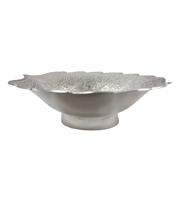 Handicrafted Brass Silver Plated Bowl Double Cut Leaf  6.5 INCH