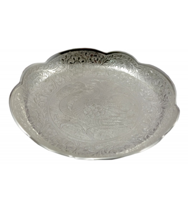 Handicraft Brass Silver Plated Plate 7 Inch
