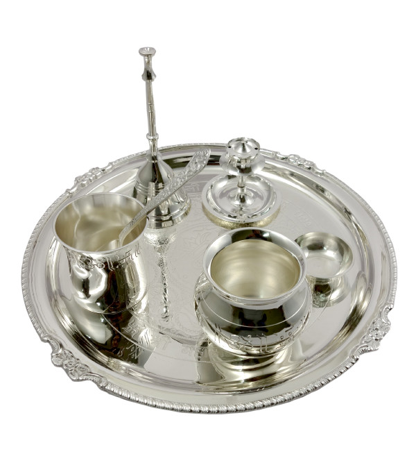 Handicraft Brass Silver Plated Pooja Thali 7 Pcs Set
