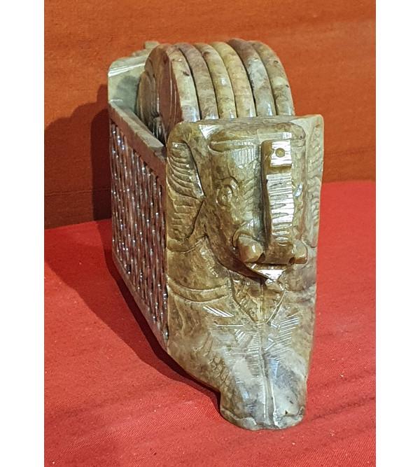 Soap Stone Elephant Carved Coaster Set of 6pc Size 3 Inch