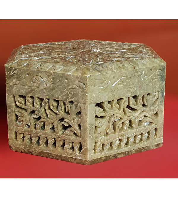Soap stone carved octagonal box 6x3 inch