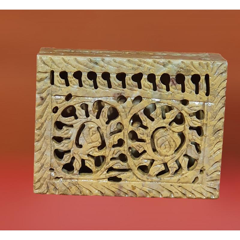 Soap Stone Jali Carved Box Size 4x2 Inch