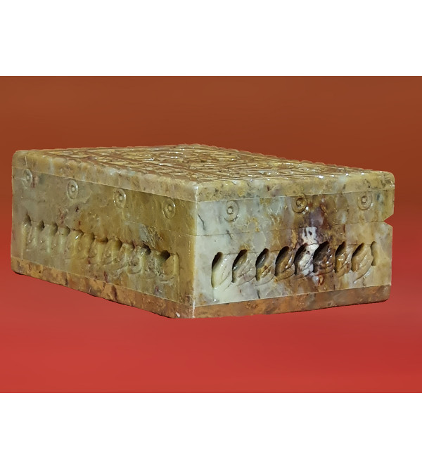 Soap stone jali carved box 4x2 inches