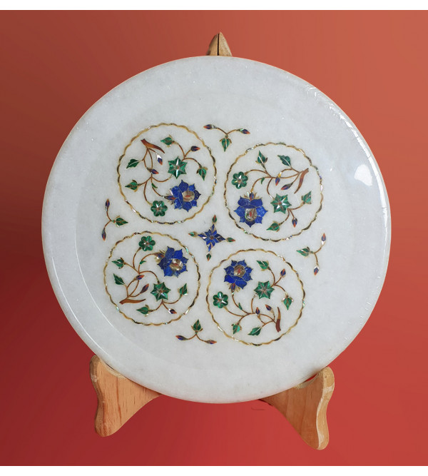 Marble Plate With Semi Precious Stone Inlay Work Size 10 Inch