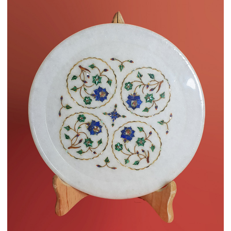 PLATES MARBLE 10 inch with semi precious stone inlay