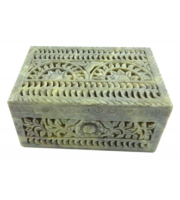 HANDICRAFT BOX SOAP STONE 6X4X3 INCH