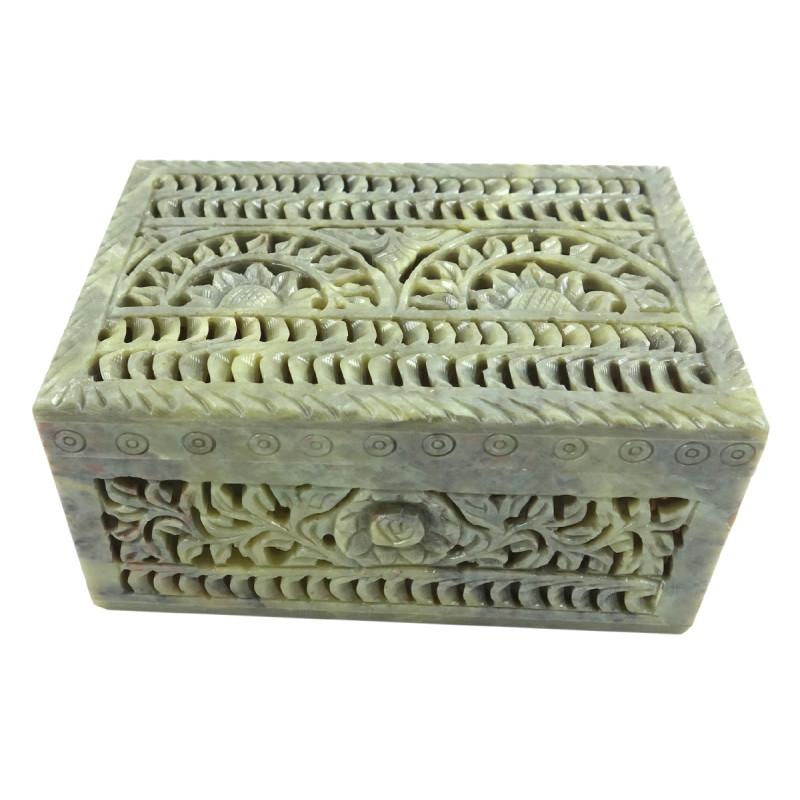 HANDICRAFT BOX SOAP STONE 6X4X3 INCH
