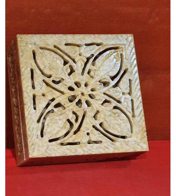 Soap Stone Handcrafted Box Size 4x4x1.5 Inch