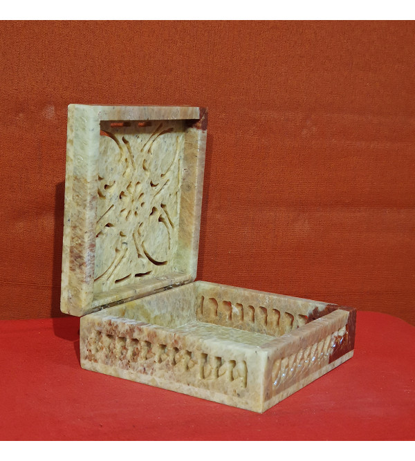HANDICRAFT BOX SOAP STONE 4X4X1.5 INCH