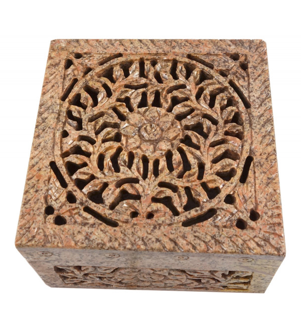 HANDICRAFT BOX SOAP STONE 4X4X2.5 INCH