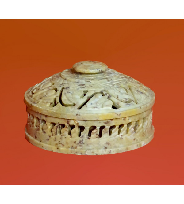 Soap Stone Handcrafted Round Box Size 4 Inch
