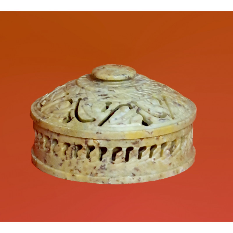 HANDICRAFT BOX SOAP STONE 4 INCH ROUND SHAPE