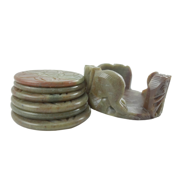 HANDICRAFT COASTER SET SOAP STONE