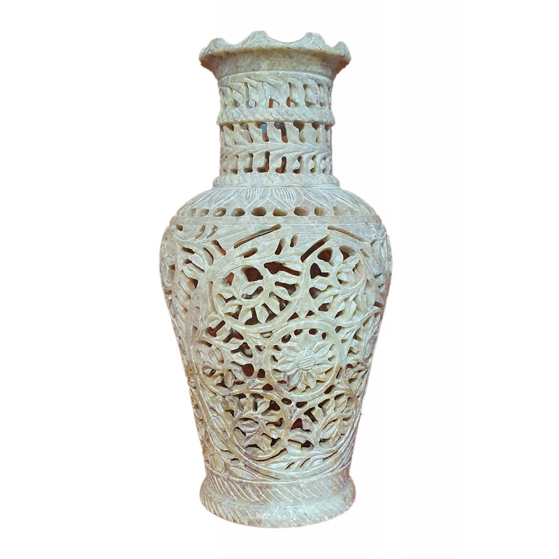 Soap stone jali vase 10 inch