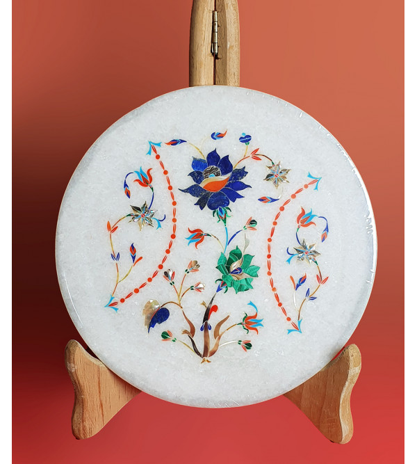 MARBLE PLATE 8 INCH with semi precious stone inlay