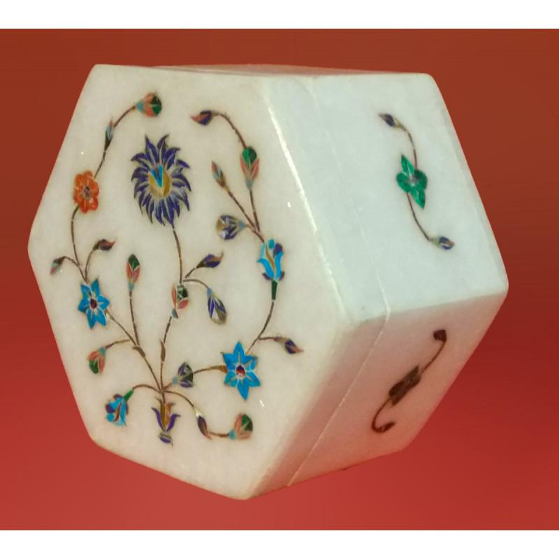 Alabaster Box With Semi Precious Stone Inlay Work Size 4x4 Inch
