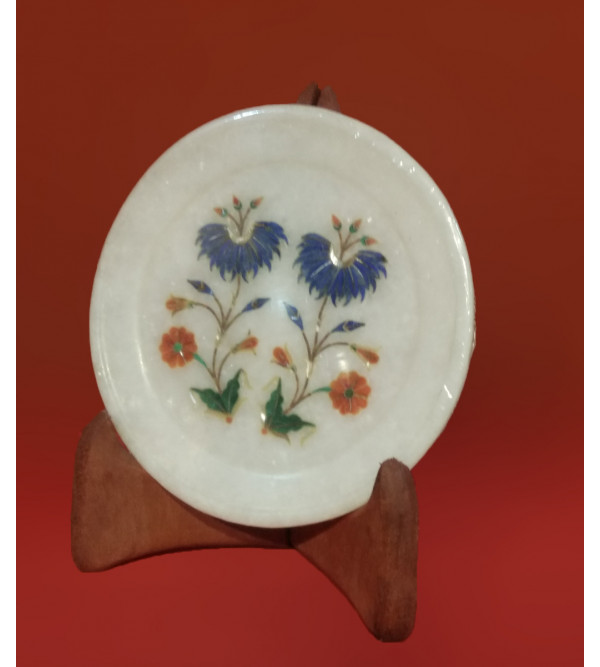 Marble Plate with Semi-Precious Stone Inlay Work Size 5 Inch