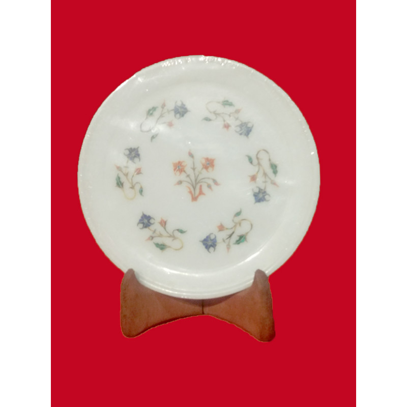 Marble Plate with Semi-Precious Stone Inlay Work Size 7 Inch