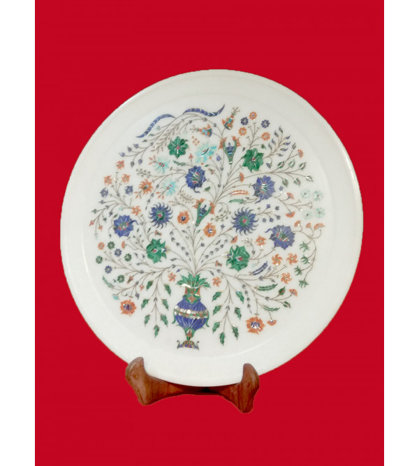 Marble Plate With Semi Precious Stone Inlay Work Size 15 Inch