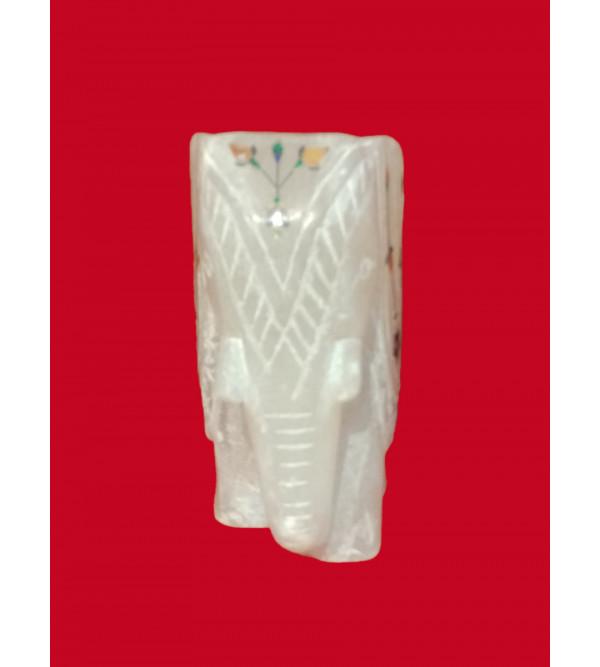 Alabaster Elephant With Semi Precious Stone Inlay Work Size 4.5 Inch