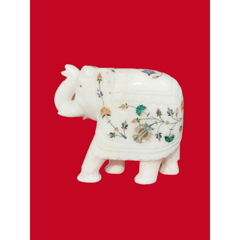 Alabaster Elephant With Semi Precious Stone Inlay Work Size 5.5 Inch